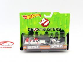 2-Car Set Ghostbusters Ecto-1 carro e Ecto-2 bicicleta branco 1:64 HotWheels