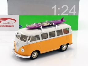 Volkswagen VW Classic Bus with surfboard year 1962 yellow / white 1:24 Welly