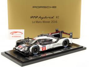 Porsche 919 Hybrid #2 vincitore 24h LeMans 2016 Lieb, Dumas, Jani con vetrina 1:18 Spark