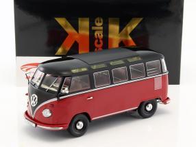 Volkswagen VW Bulli T1 Samba année 1962 rouge / noir 1:18 KK-Scale