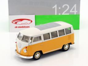 Volkswagen VW T1 bus année 1963 jaune / blanc 1:24 Welly