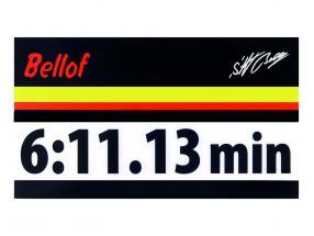 Stefan Bellof Aufkleber Rekordrunde 6:11.13 min schwarz 200 x 35 mm