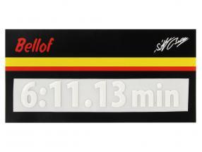 Stefan Bellof 3D sticker giro record 6:11.13 min bianco 120 x 25 mm