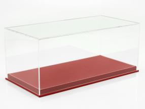 Hochwertige Vitrine mit Bodenplatte aus Leder für Modellautos im Maßstab 1:18 rot SAFE