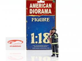 firefighter figure II Saving Life 1:18 American Diorama