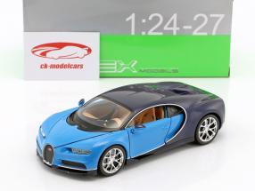 Bugatti Chiron Opførselsår 2017 lyseblå / mørkeblå 1:24 Welly