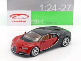 Bugatti Chiron Opførselsår 2017 rød / sort 1:24 Welly