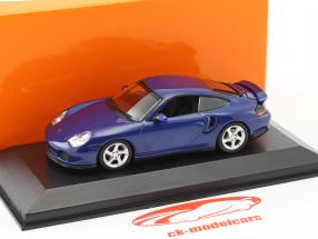 Porsche 911 (996) Turbo Baujahr 1999 blau metallic 1:43 Minichamps