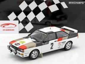 Audi Quattro #2 winnaar internationaal Rallye Zweden 1981 Mikkola, Hertz 1:18 Minichamps
