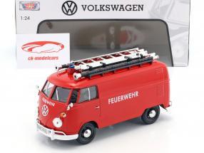 Volkswagen VW Type 2 T1 bus fire Department red 1:24 MotorMax
