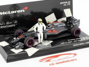 Jenson Button McLaren MP4-31 #22 Final GP Abu Dhabi F1 2016 with driver figure 1:43 Minichamps
