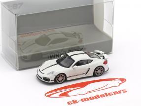 Porsche Cayman GT4 Baujahr 2016 weiß mit schwarzen Streifen 1:87 Minichamps