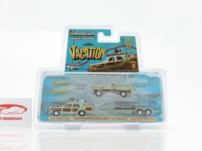 3-Car Set Ford F100 1972 and Wagon Queen Family Truckster 1979 with Flatbed Trailer 1:64 Greenlight