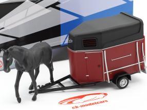 cavallo trailer con cavallo scuro rosso / nero 1:43 Cararama