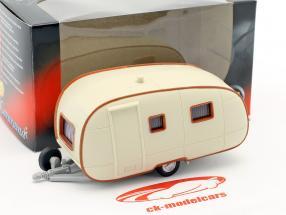 Wohnwagen Caravan II crema bianca Con Marrone ornamento 1:43 Cararama