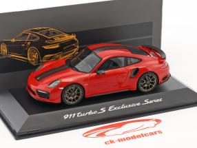 Porsche 911 (991) Turbo S Exclusives Series red metallic 1:43 Spark