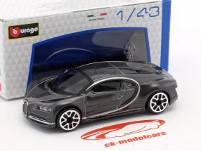 Bugatti Chiron donkergrijs metalen 1:43 Bburago