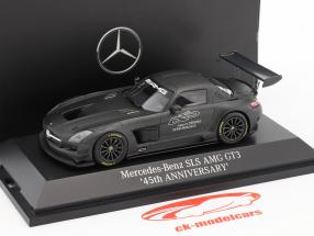 Mercedes-Benz SLS AMG GT3 45e verjaardag donker grijs metalen 1:43 Minichamps