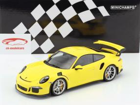 Porsche 911 (991) GT3 RS year 2015 yellow / silver rims 1:18 Minichamps