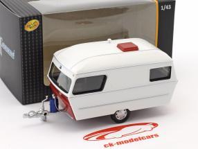 Div Wohnwagen IV année 1990 blanc / rouge 1:43 Cararama