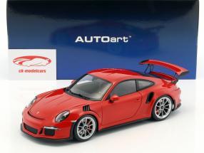 Porsche 911 (991) GT3 RS año de construcción 2016 rojo con plata ruedas 1:18 AUTOart
