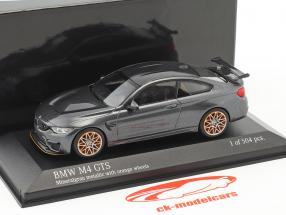 BMW M4 GTS year 2016 gray metallic with orange wheels 1:43 Minichamps