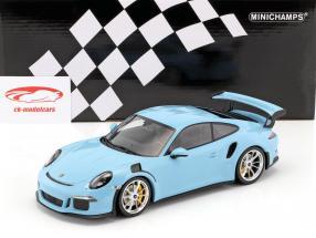 Porsche 911 (991) GT3 RS année de construction 2015 gulf bleu avec natte argent jantes 1:18 Minichamps
