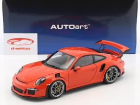 Porsche 911 (991) GT3 RS Baujahr 2016 lava orange mit dunkelgrauen Rädern 1:18 AUTOart