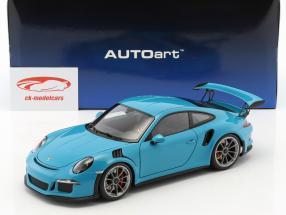 Porsche 911 (991) GT3 RS Baujahr 2016 miami blau mit dunkelgrauen Rädern 1:18 AUTOart
