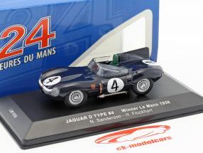 Jaguar D-Type #4 gagnant 24h LeMans 1956 Sanderson, Flockhart 1:43 Ixo