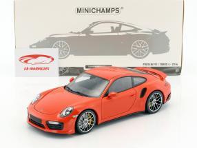 Porsche 911 (991 II) Turbo S year 2016 orange 1:18 Minichamps