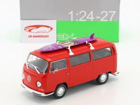 Volkswagen VW T2 bus met surfboard Bouwjaar 1972 rood 1:24 Welly