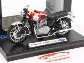 Triumph Bonneville T100 Bouwjaar 2002 rood / zilver / zwart 1:18 Welly