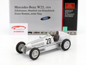 Mercedes Benz W25 #20 von Brauchitsch Formule 1 1934 Winnaar Eifelrennen 1:18 CMC