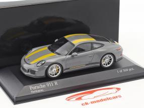 Porsche 911 (991) R Opførselsår 2016 nardo grå / gul 1:43 Minichamps