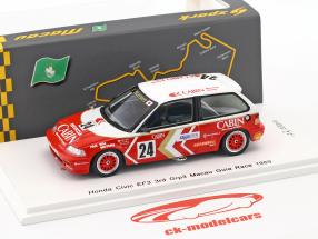 Honda Civic EF3 #24 3 ° Grp3 Macau Guia Race 1989 Masami Miyoshi 1:43 Spark