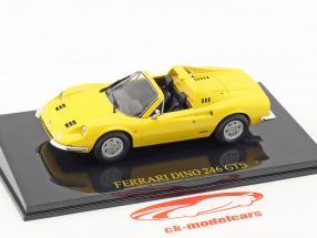 Ferrari Dino 246 GTS geel met vitrine 1:43 Altaya