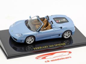 Ferrari 360 Spider blå med udstillingsvindue 1:43 Altaya