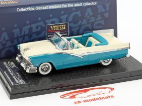 Ford Fairlane ouvert convertible année de construction 1956 bleu / blanc 1:43 Vitesse