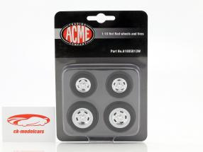 Hot Rod Wheel and Tire Set Ford 5 Window (A1805013) 1:18 GMP