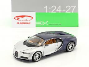 Bugatti Chiron year 2017 silver / blue 1:24 Welly