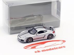 Porsche Cayman GT4 Baujahr 2016 silber mit schwarzem Streifen 1:87 Minichamps
