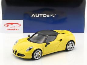 Alfa Romeo 4C Spider with removable Top year 2015 yellow 1:18 AUTOart
