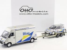3-Car Set Rallye Tour de Corse 1995: Renault Master   Renault Clio Maxi   Trailer 1:18 Otto Mobile