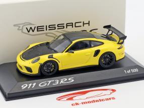 Porsche 911 (991 II) GT3 RS Weissach paquete año de construcción 2018 amarillo / negro 1:43 Minichamps