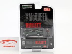 Ford Mustang GT e figura Steve McQueen filme Bullitt (1968) verde 1:64 Greenlight