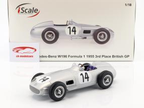 Karl Kling Mercedes-Benz W196 #14 tercero británico GP fórmula 1 1955 1:18 iScale