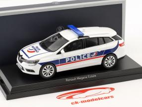 Renault Megane Estate Police Nationale year 2016 white / blue 1:43 Norev
