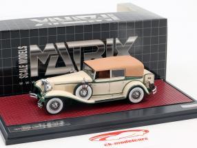 Cord L-29 Phaeton Sedan Closed Top ano de construção 1931 creme branco / verde 1:43 Matrix