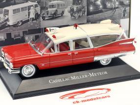 Cadillac Miller Meteor ambulancia con camilla año de construcción 1959 rojo / blanco 1:43 atlas